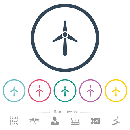 Wind turbine flat color icons in round outlines. 6 bonus icons included.