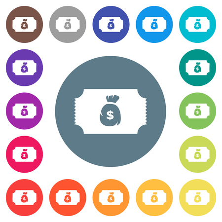 Ticket with dollar bag flat white icons on round color backgrounds. 17 background color variations are included.