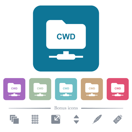 FTP change working directory white flat icons on color rounded square backgrounds. 6 bonus icons included Illustration