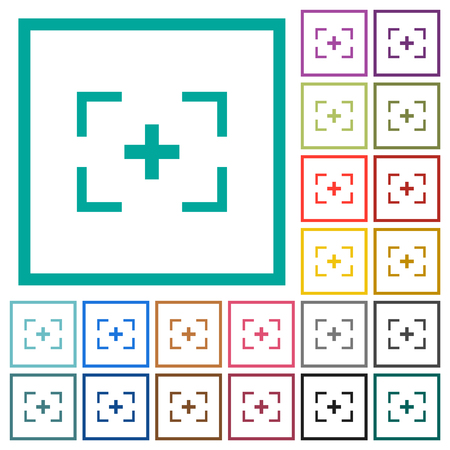 Camera crosshairs flat color icons with quadrant frames on white background
