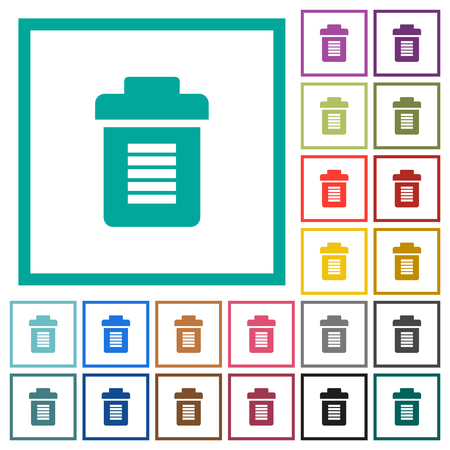 Full trash flat color icons with quadrant frames on white background