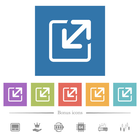 Resize flat white icons in square backgrounds. 6 bonus icons included. Vektorgrafik