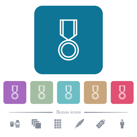 Medal white flat icons on color rounded square backgrounds. 6 bonus icons included Illustration