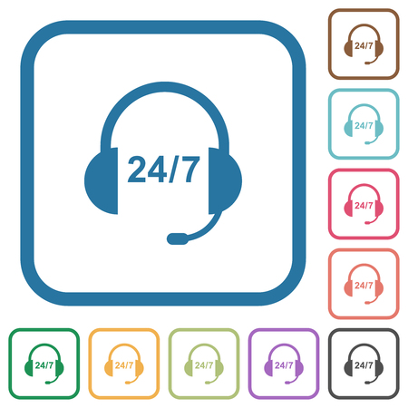 24 hour call center simple icons in color rounded square frames on white background