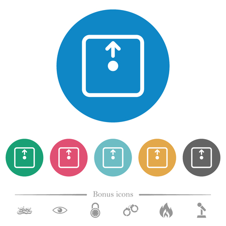 Move object up flat white icons on round color backgrounds. 6 bonus icons included.