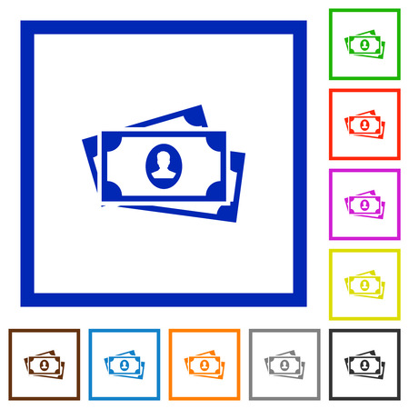 More banknotes with portrait flat color icons in square frames on white background