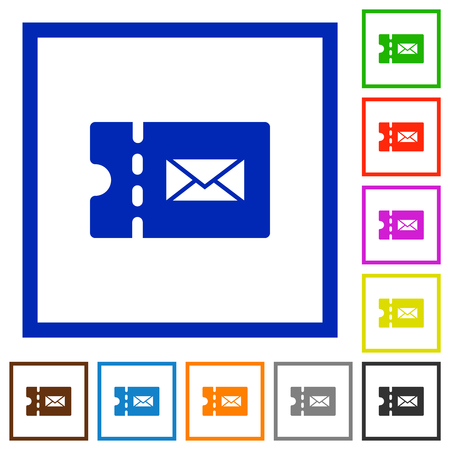 Postal discount coupon flat color icons in square frames on white background