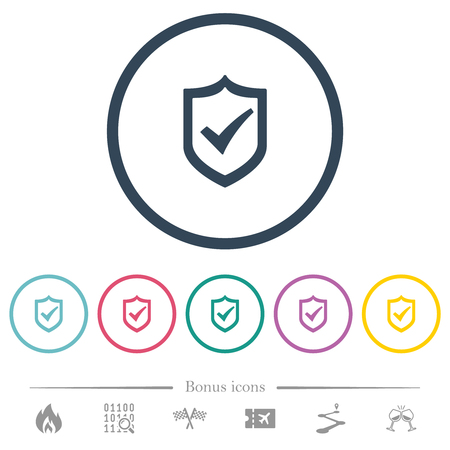 Active shield flat color icons in round outlines. 6 bonus icons included.