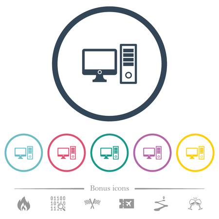 Desktop computer flat color icons in round outlines. 6 bonus icons included. Illustration
