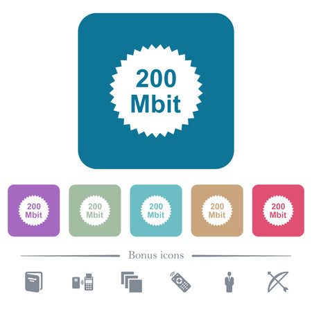 200 mbit guarantee sticker white flat icons on color rounded square backgrounds. 6 bonus icons included