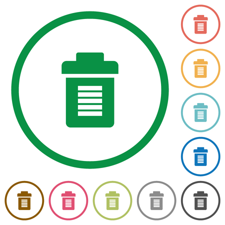 Full trash flat color icons in round outlines on white background