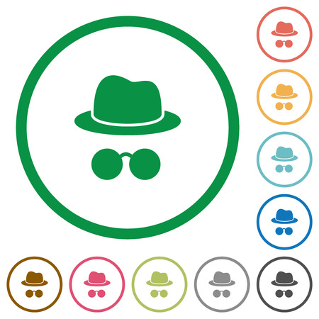 Incognito with glasses flat color icons in round outlines on white background Çizim