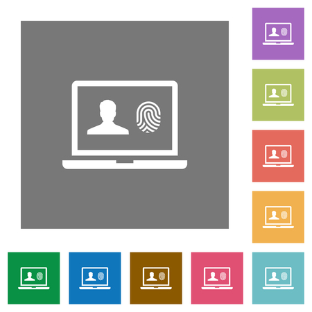 Criminal background check flat icons on simple color square backgrounds