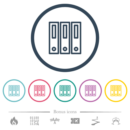 Binders flat color icons in round outlines. 6 bonus icons included.