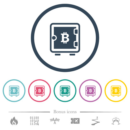 Bitcoin strong box flat color icons in round outlines. 6 bonus icons included. Vectores