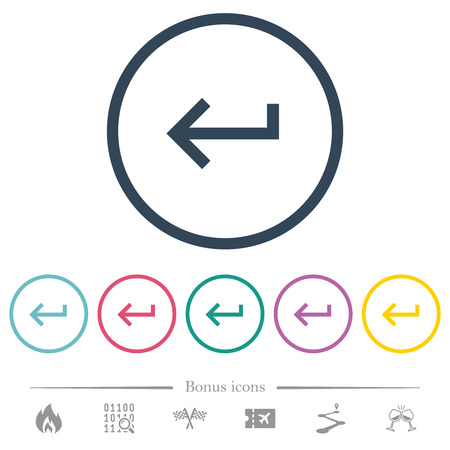 Keyboard return flat color icons in round outlines. 6 bonus icons included. Ilustrace