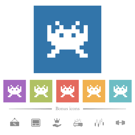 Video game flat white icons in square backgrounds. 6 bonus icons included. Ilustracja