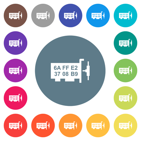 Network mac address flat white icons on round color backgrounds. 17 background color variations are included.