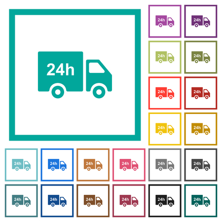 24 hour delivery truck flat color icons with quadrant frames on white background