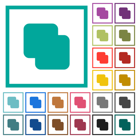 Add shapes flat color icons with quadrant frames on white background Illusztráció