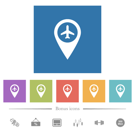Airport GPS map location flat white icons in square backgrounds. 6 bonus icons included.