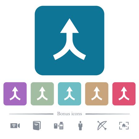 Merge arrows up white flat icons on color rounded square backgrounds. 6 bonus icons included