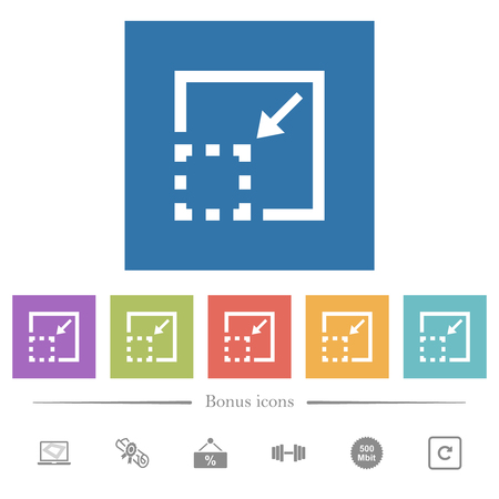 Minimize element flat white icons in square backgrounds. 6 bonus icons included.