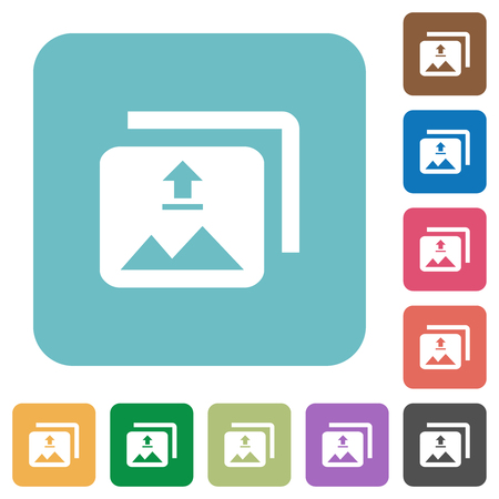 Upload multiple images white flat icons on color rounded square backgrounds