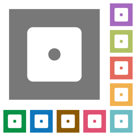 Dice one flat icons on simple color square backgrounds