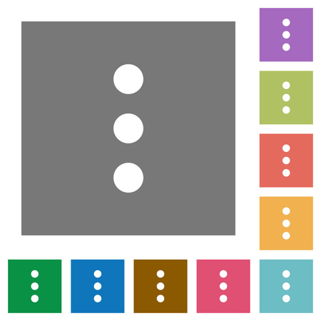 More options flat icons on simple color square backgrounds