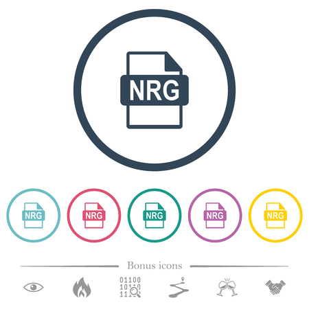 NRG file format flat color icons in round outlines. 6 bonus icons included.