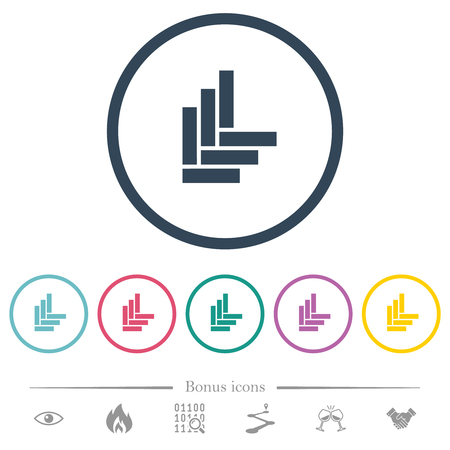 Parquet pattern flat color icons in round outlines. 6 bonus icons included.