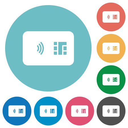 NFC chip card flat white icons on round color backgrounds