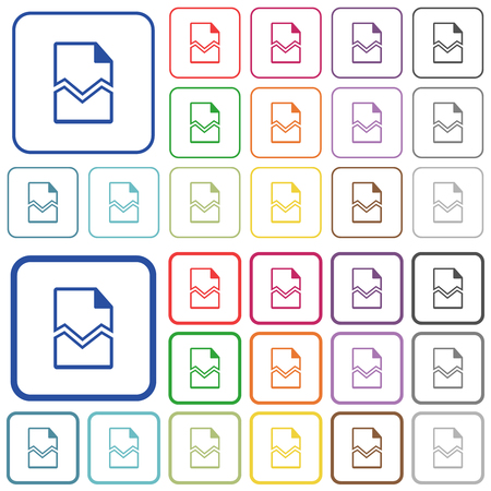 Broken page color flat icons in rounded square frames. Thin and thick versions included.
