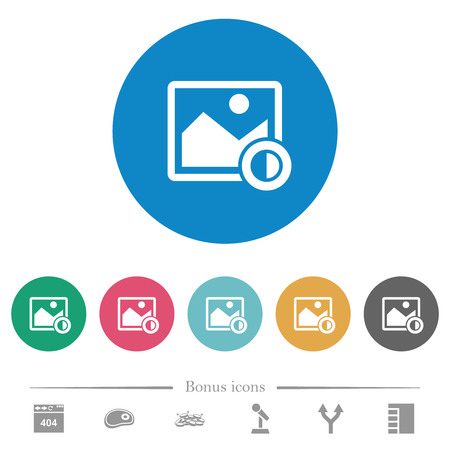 Adjust image contrast flat white icons on round color backgrounds. 6 bonus icons included.