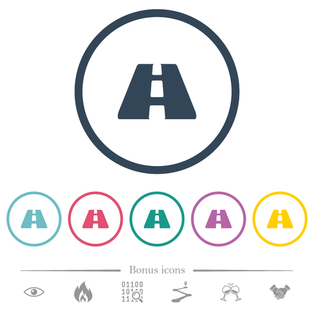 Road flat color icons in round outlines. 6 bonus icons included.