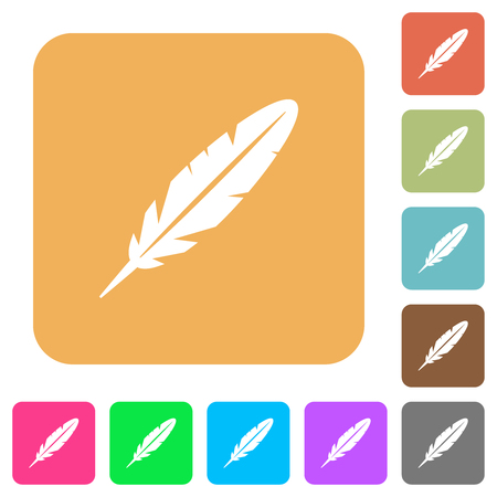 Single feather flat icons on rounded square vivid color backgrounds. Illustration