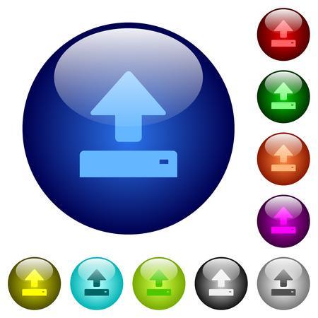 Open icons on round color glass buttons