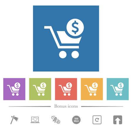 Checkout with Dollar cart flat white icons in square backgrounds. 6 bonus icons included.