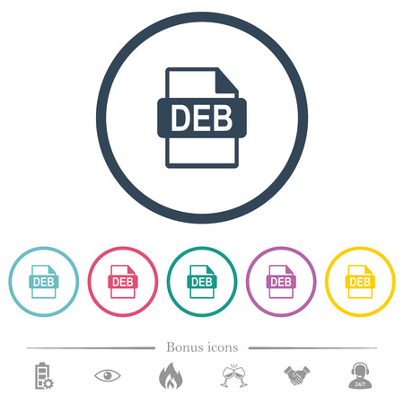 DEB file format flat color icons in round outlines. 6 bonus icons included. Stock Illustratie