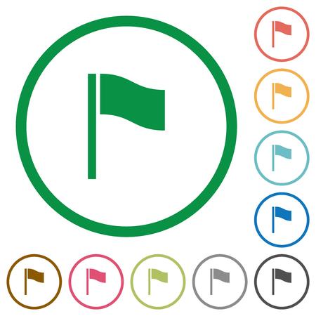 Flag flat color icons in round outlines on white background Ilustração