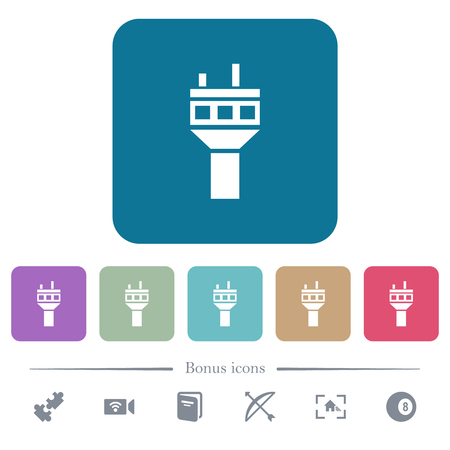 Air control tower white flat icons on color rounded square backgrounds. 6 bonus icons included