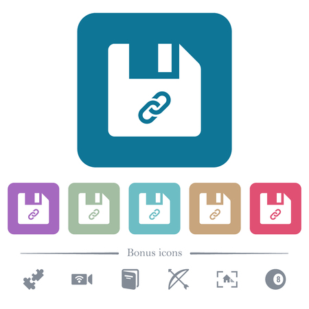 File attachment white flat icons on color rounded square backgrounds. 6 bonus icons included Ilustração