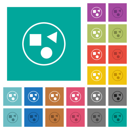 Grouping elements multi colored flat icons on plain square backgrounds. Included white and darker icon variations for hover or active effects.