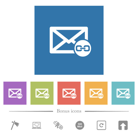 Mail attachment flat white icons in square backgrounds. 6 bonus icons included. Vettoriali