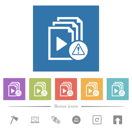 Playlist warning flat white icons in square backgrounds. 6 bonus icons included. Stock Vector - 124143569