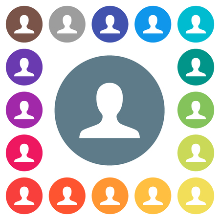 Blank user avatar flat white icons on round color backgrounds. 17 background color variations are included. Çizim
