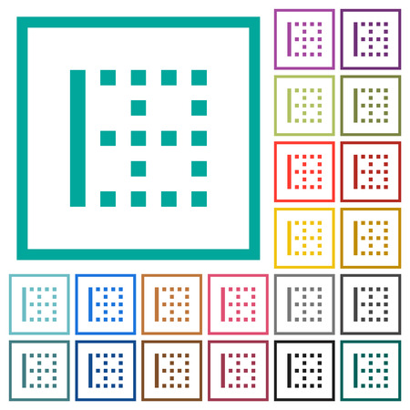 Left border flat color icons with quadrant frames on white background