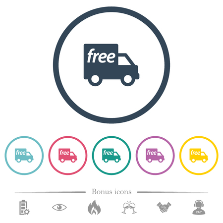 Free shipping flat color icons in round outlines. 6 bonus icons included.