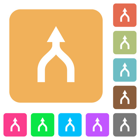 Merge arrows up flat icons on rounded square vivid color backgrounds. Stock Illustratie